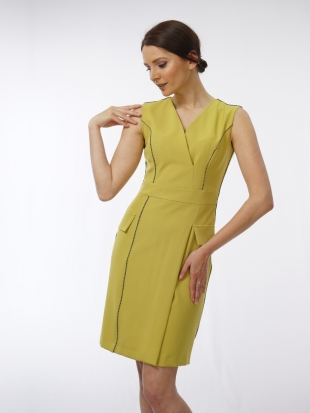 Women's dress in lime color 71944-307