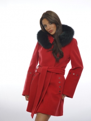 Red women's coat with genuine leather collar  Radeks