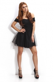 Black dress with tulle skirt cut