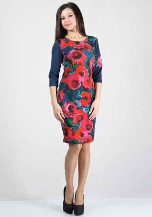 Women's dress in print of red roses on blue base RUMENA