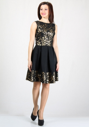 Women's dress in gold with black lace RUMENA