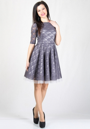 Purple lace dress with tulle underskirt  RUMENA