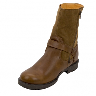 Men's brown leather high boots with lamb fur lining 32798