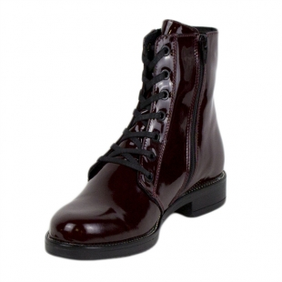 Women's burgundy patent leather boots 20418