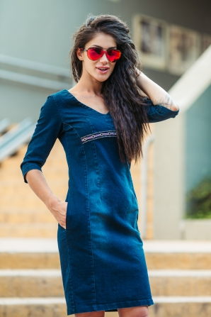 Denim dress with welt and pockets  Avangard